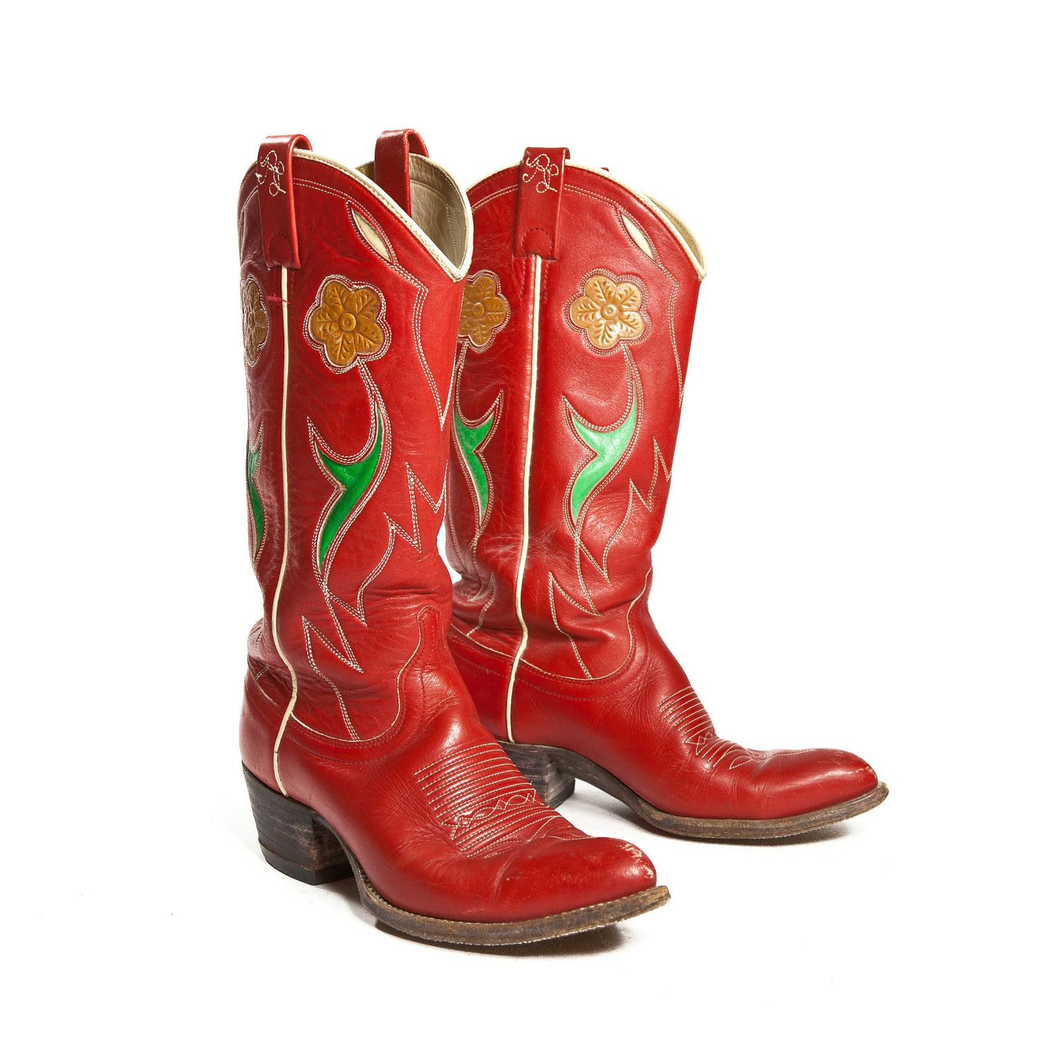 cfe5e4fe435 Vintage Women's Ralph Lauren Western Cowboy Boots Red Leather with ...