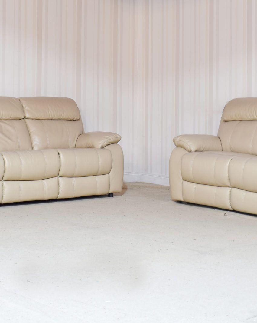 Homeflair Moreno Cream Leather 3 Seater 2 Seater Sofa 18b 2 Seater Sofa Cream Leather Sofa Sofa