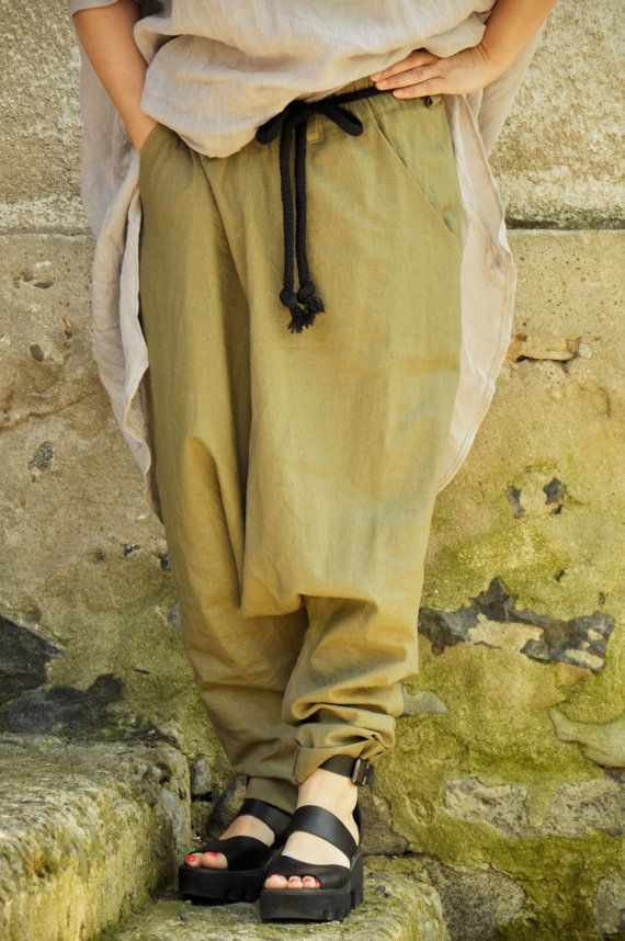 Beige linen SET/Pants and linen tunic/Maxi pants by Gabygaclothes