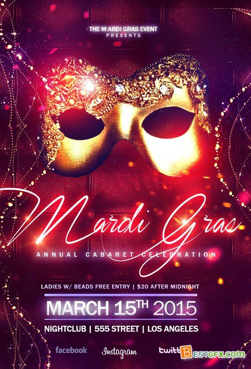 flyer template elegant masquerade ball