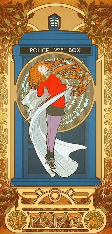 Pin #29 (tied with 3 other Pins) ... Amy Pond by way of Alphonse Mucha.