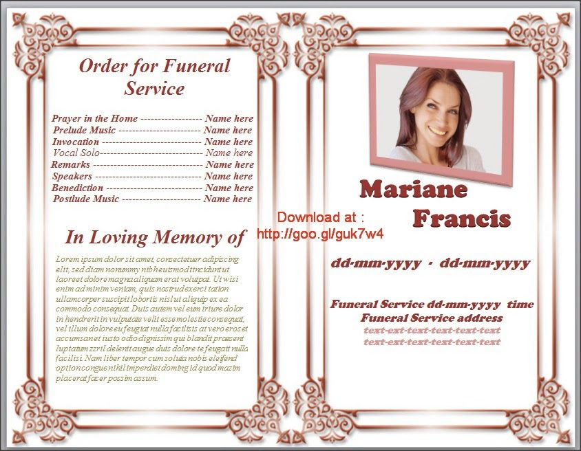 ... Free Folded Memorial Order Of Service Program Template In Word   Free  Template For Funeral Program ...  Funeral Templates Free