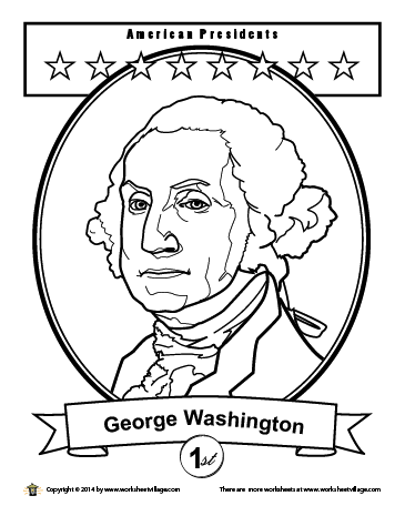 george washington coloring page - Presidents Day Coloring Pages