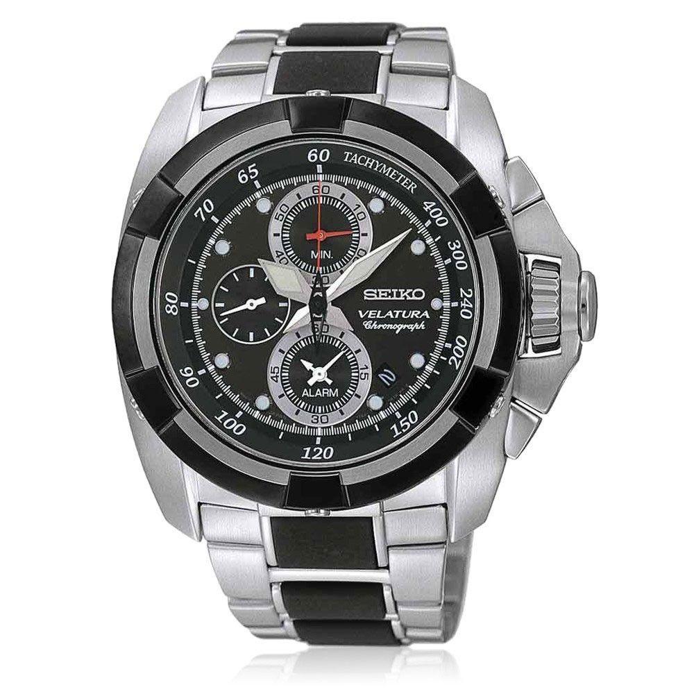 Seiko Men's Silver Black Wrist Watch Watches, Discount
