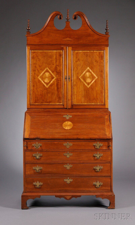 c1810 federal desk bookcase conn usa cherryinlay 92t 12