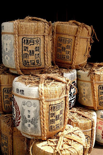 These Sake barrels appear to be made from a hardened straw like material. Something similar in form might lend contrast to the tall, repetitive rectangular prisms in my set design.