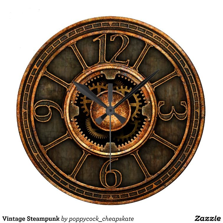 Vintage Steampunk Wall Clock From Poppycock Cheapskate At Zazzle
