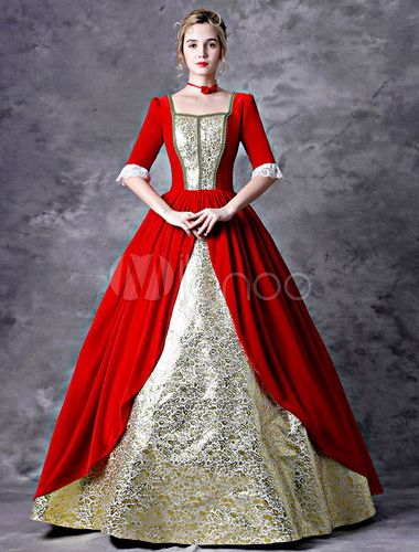 Retro Victorian Dress Costume Red Women Baroque Masquerade Ball Gowns Royal Vintage Costumes Halloween - Milanoo.com