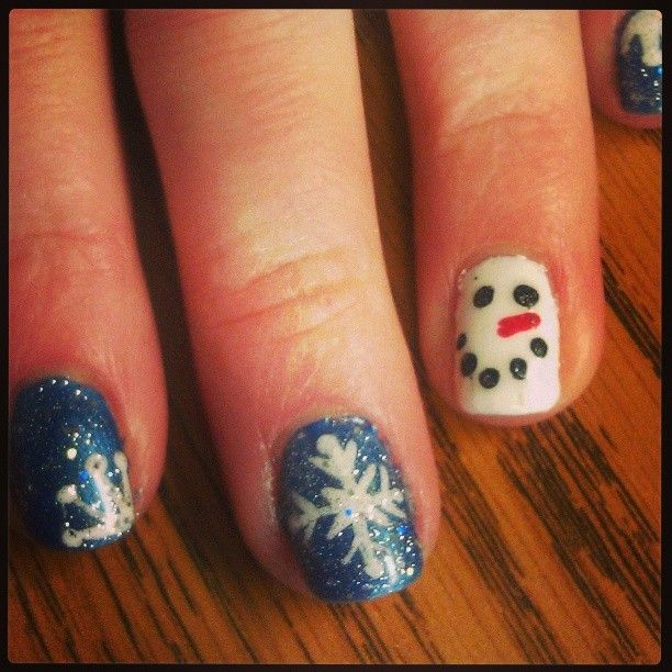 Only as inspo all blue nails then white snoeman accent nail maybe?