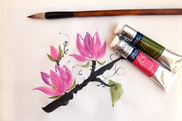 How To Paint Magnolia Blossoms A Chinese Brush Painting Tutorial