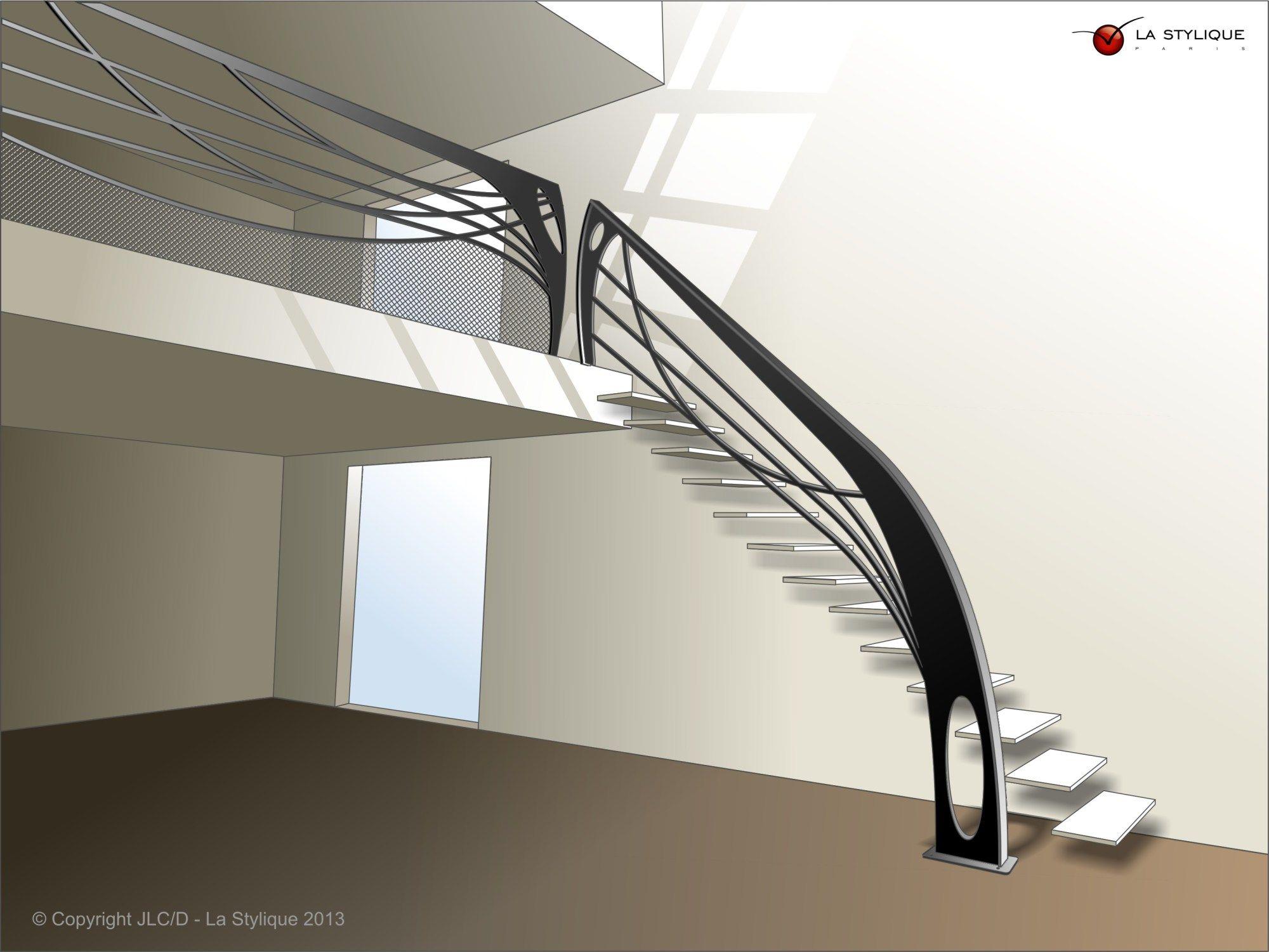 Escalier Design Contemporain Croquis Avec Garde Corps
