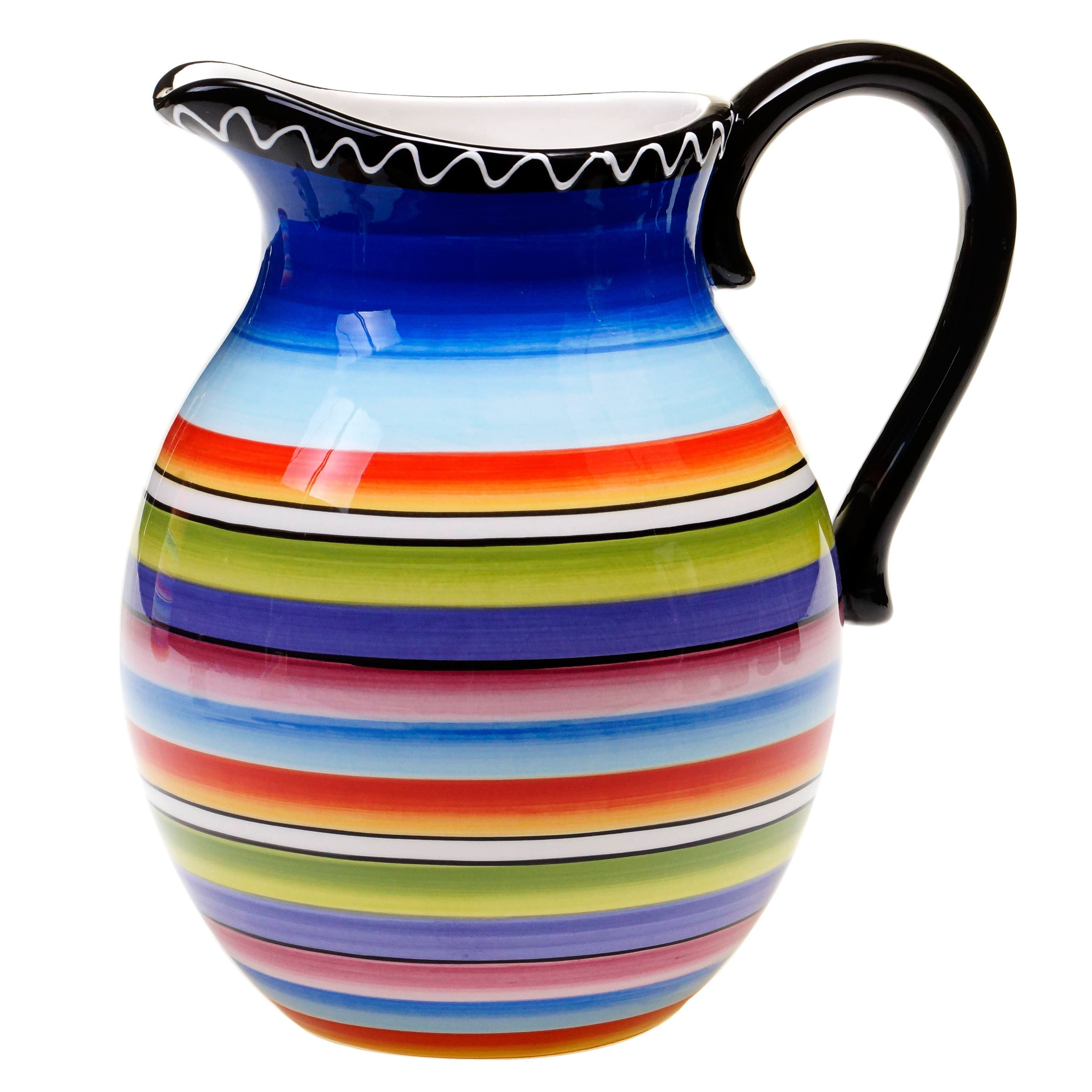 Pour drinks in style with the hand-painted Tequila Sunrise pitcher. Crafted with durable ceramic, this delightful pitcher is sure to be a wonderful piece in your dinnerware collection for years to come.