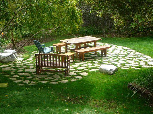 Marvelous Recycled Broken Concrete Patio In Brentood Landscape
