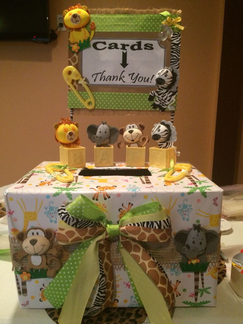 Animal theme baby shower card box