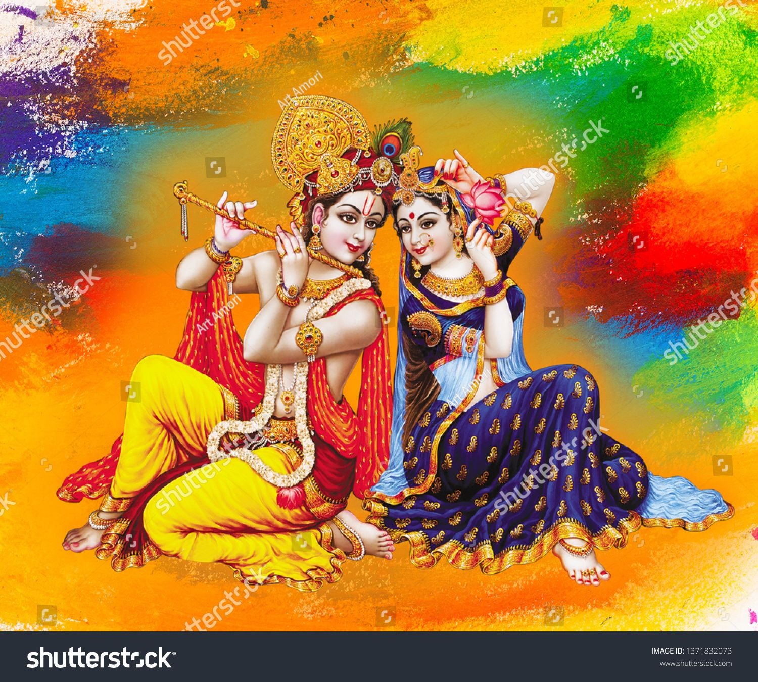 Illustration Of Colorful Lord Radha Krishna With Flute On Decorative Abstract Background 3d Wallpaper Moder City Wallpaper Modern Artwork Abstract Backgrounds