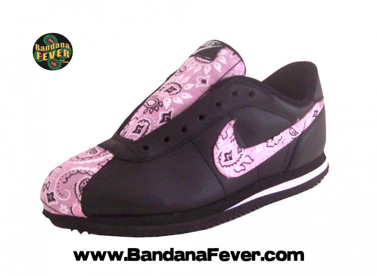 Bandana Fever - - Bandana Fever Custom Bandana Nike Cortez Leather  Black White Pink e466df76e95