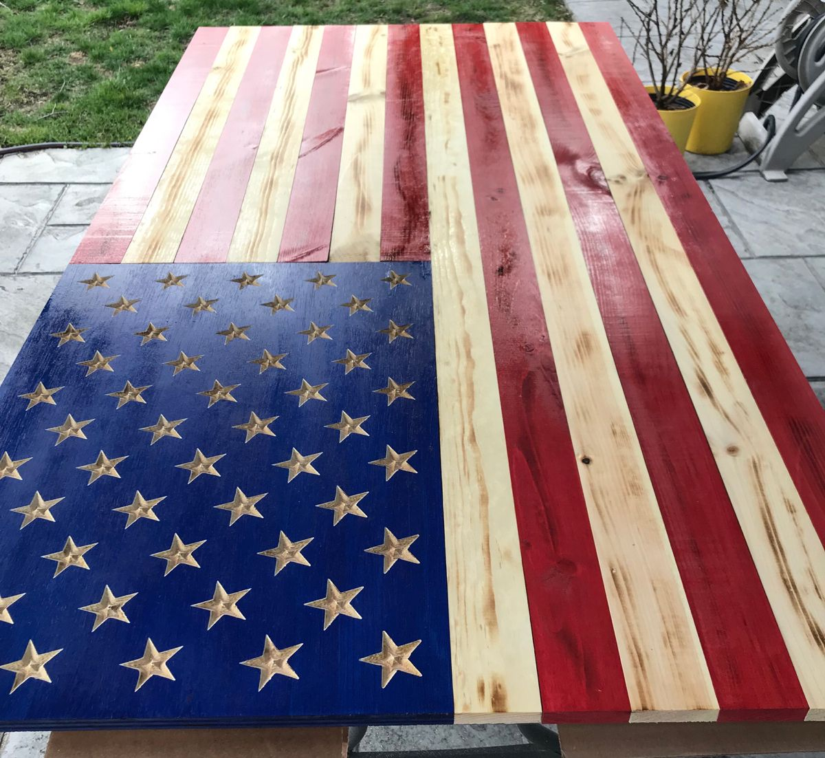 Extra Large Wooden American Flag Carved Stars On Union 72 X 39 Inches Home Office Patriotic Wall Hanging For Indoor Outdoor In 2020 Wooden American Flag Patriotic Wall Hanging American Flag Wood