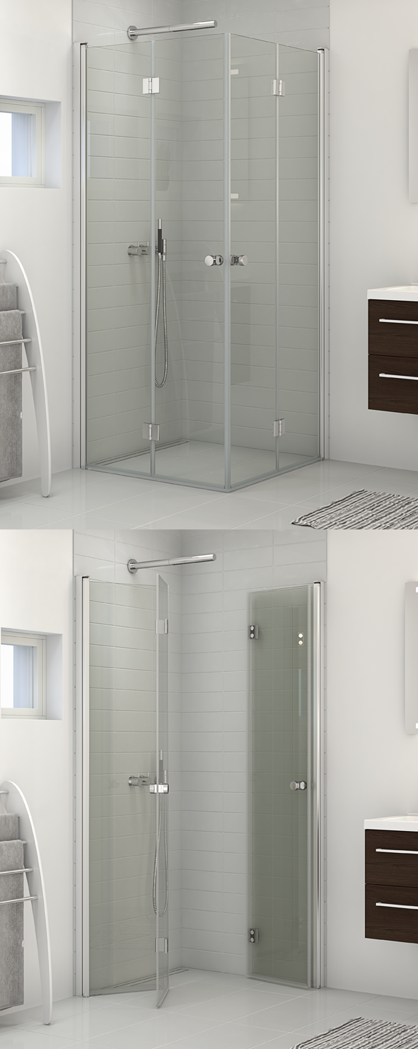 Shower enclosure with two bifold doors. Ideal for very small rooms ...