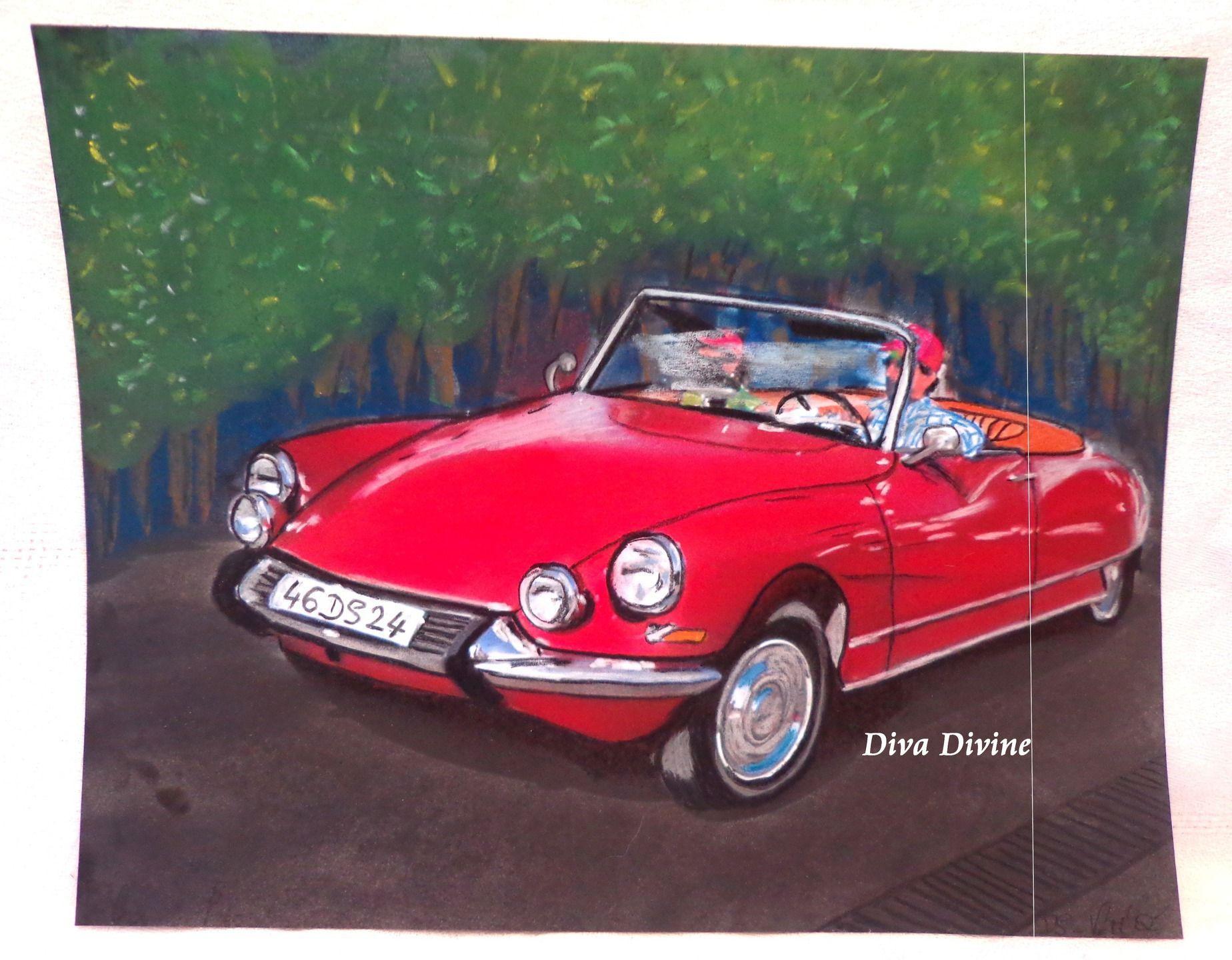 pastel sec pour tableau r tro vintage voiture francaise ds cr ation originale. Black Bedroom Furniture Sets. Home Design Ideas