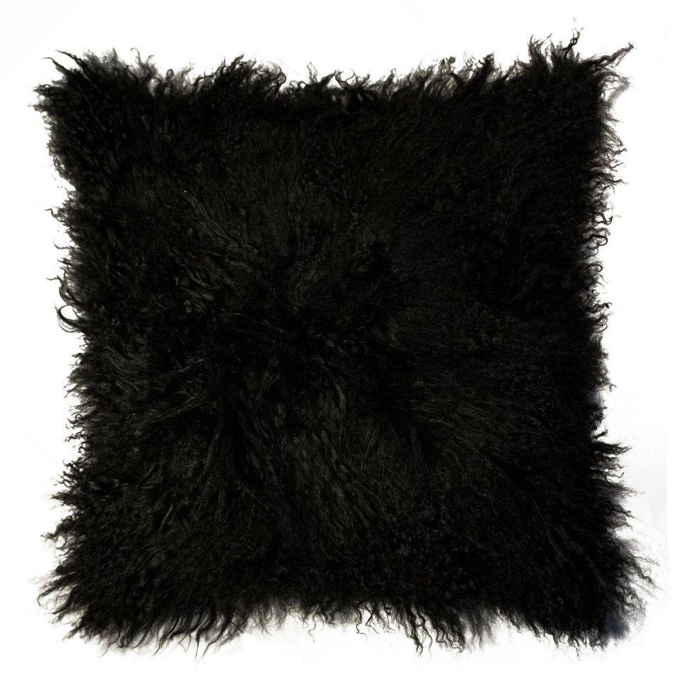 "Kinetic Sheepskin Rug: NATURAL 18"" Mongolian Pillow In Black"
