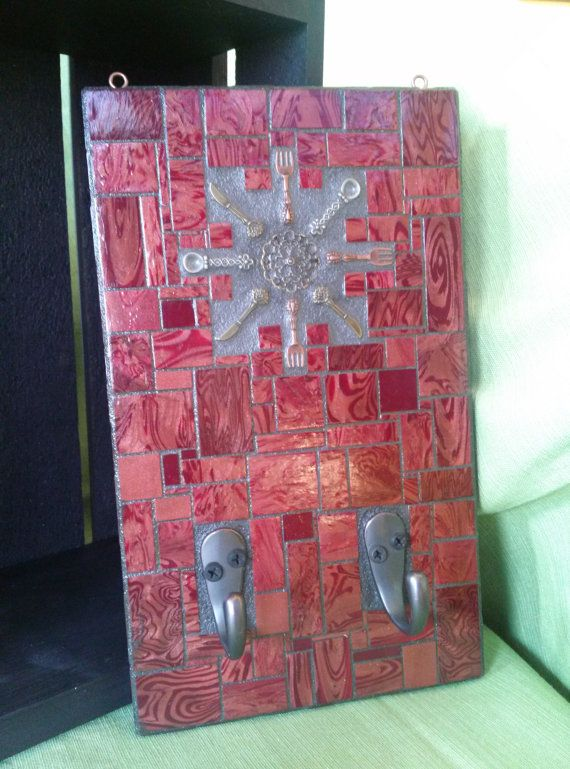 Mosaic with Kitchen Utensils and Two Hooks by velvetbearmosaics