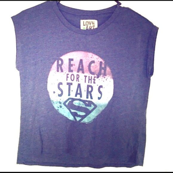 "NWOT cropped T shirt by Love & Art Superman Blue cropped Superman t shirt from Love & Art.  Reach for the Stars. It's 18 1/2"" long. Love&Art Tops Crop Tops"
