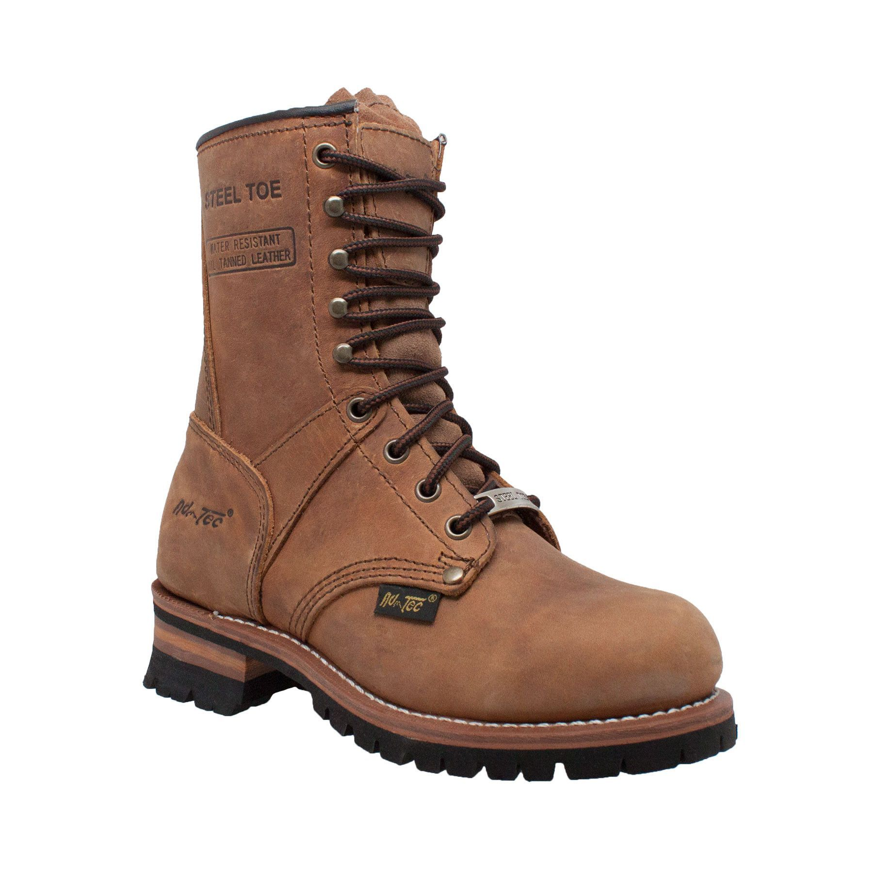 AdTec Womens Brown 9in Steel Toe Logger Leather Work Boots ...