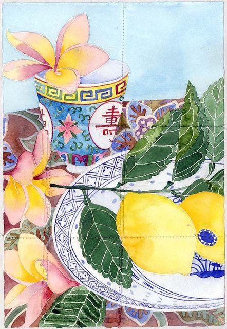 Gabby Malpas | Frangipani and lemons, watercolour