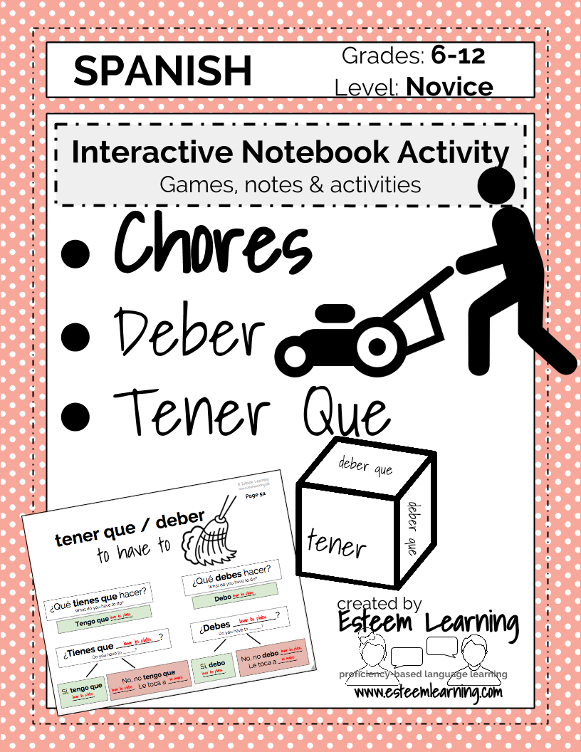 Spanish Lesson On Chores Quehaceres Tener Que Deber Esteem Learning Llc Elementary Spanish Lessons Learning A Second Language Spanish Interactive Notebook [ 1056 x 816 Pixel ]