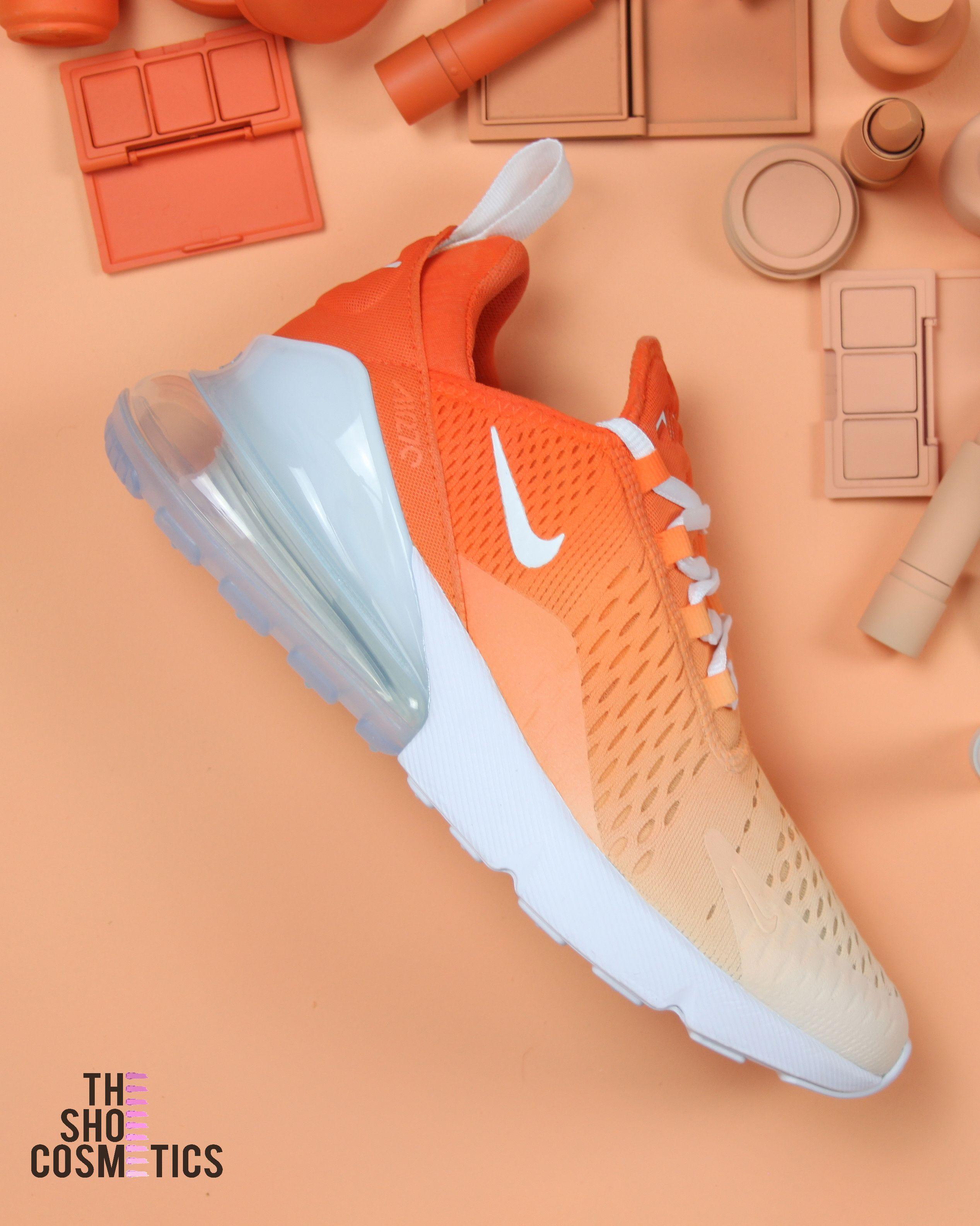 Orange Ombre Nike Air Max 270 Custom Sneakers Orange Nike Shoes Nike Air Max Sneakers Nike