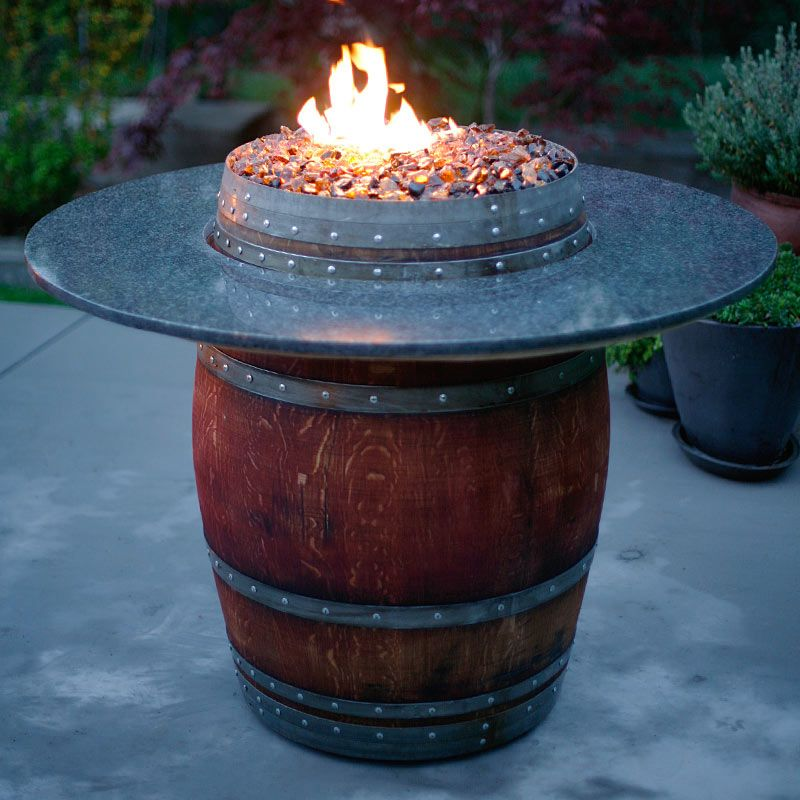 The Grand Wine Barrel Fire Pit Table: Fireglass, Fire Pits, Glass Rocks U0026