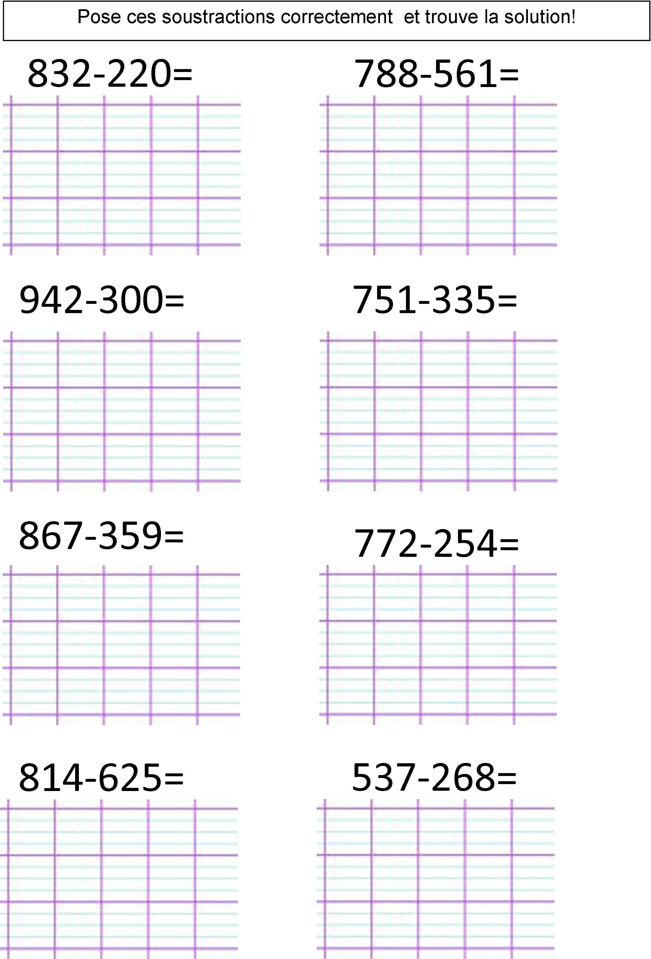 Calcul CE1 CE2 La soustraction posée (2 méthodes)   Le ...