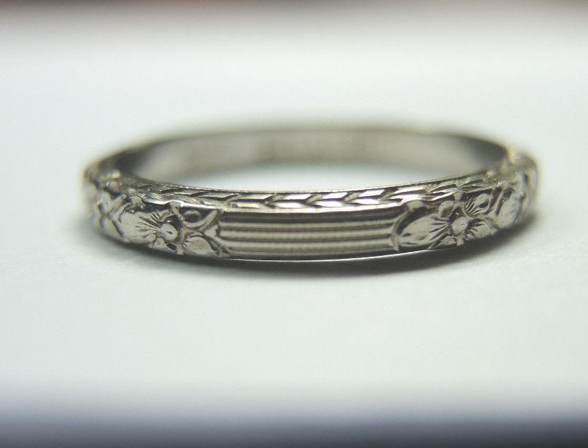 Antique barth belais 18k wedding band ring engraved