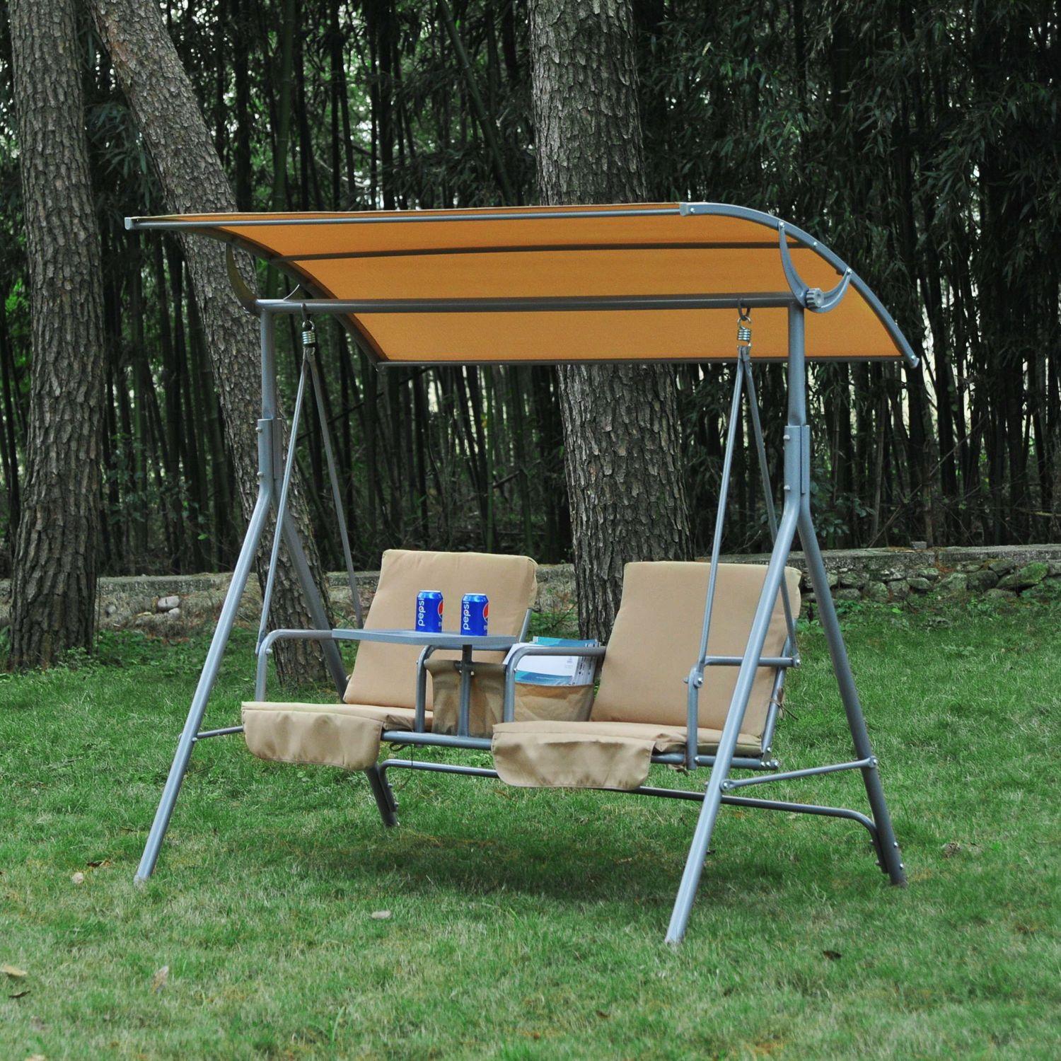 Outdoor Swing Chair Canopy Patio Garden Hanging 2 Person Yard