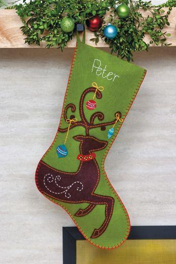 Ornate Deer Christmas Stocking - Felt Applique Kit ...