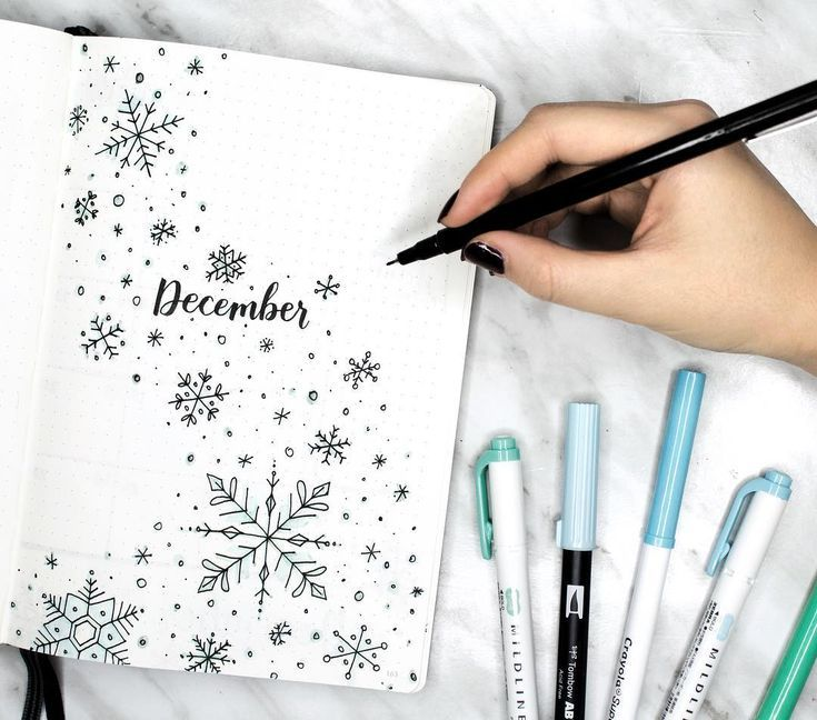 Bullet journal monthly cover page, December cover page, snowflake drawings, Winter drawings. @amandarachdoodles #bulletjournalideas