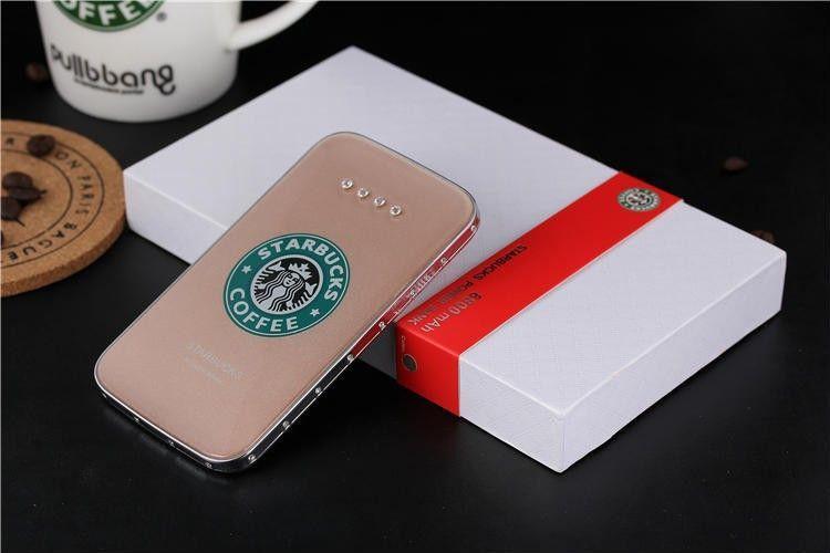 Starbucks portable battery charger 8800mAh power bank ultra-thin polymer Rehinestone power bank