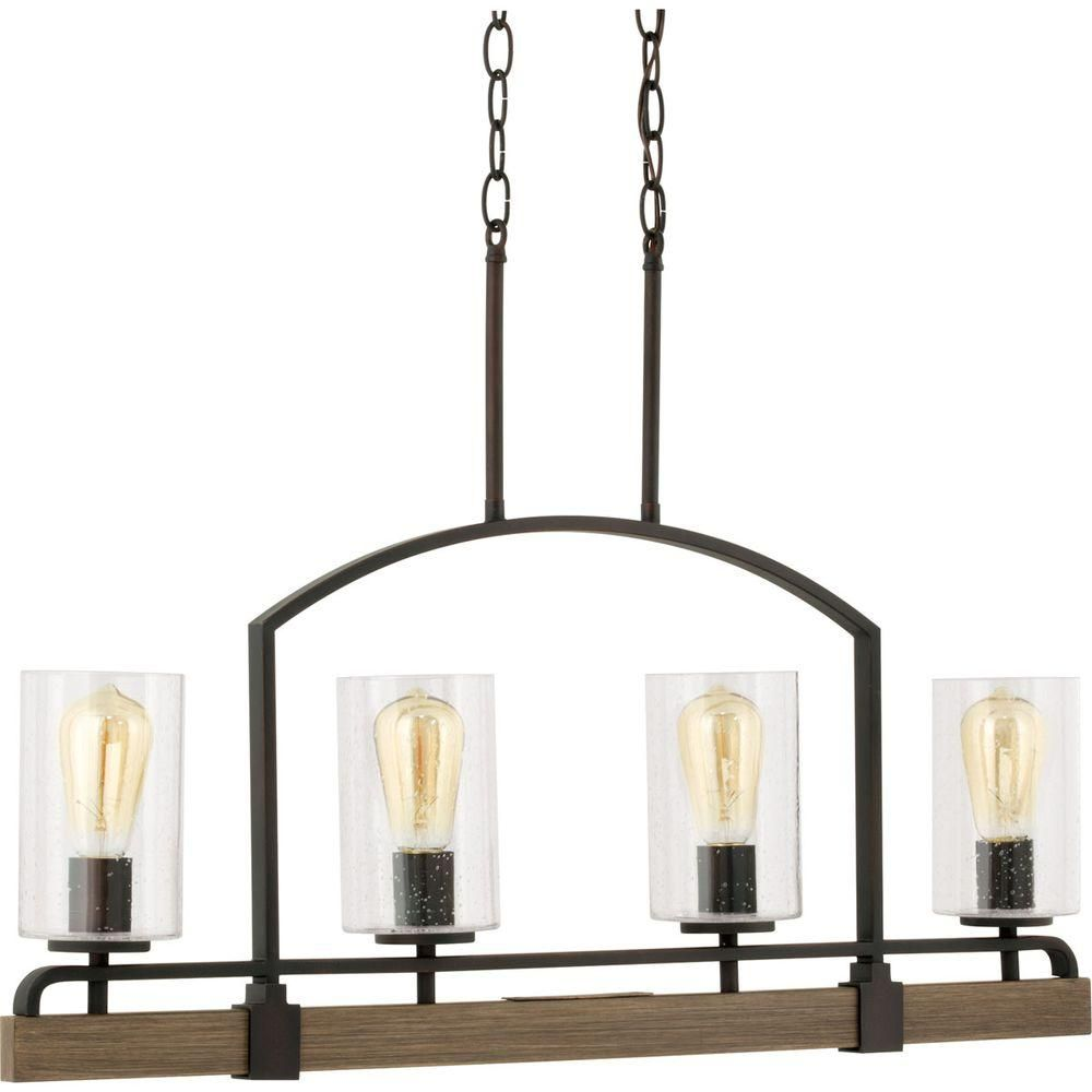Progress Lighting Grove Collection 4 Light Vintage Bronze Linear Chandelier P7923 123 Dining Room