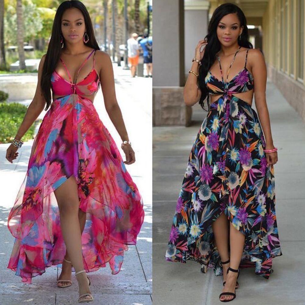 a62b118ab6d Women Summer Boho Long Maxi Evening Party Dress Beach Dresses Chiffon Dress