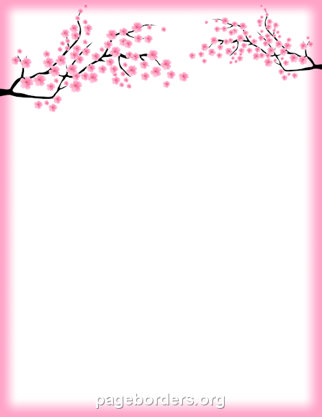 pin by muse printables on page borders and border clip art pinterest cherry blossom page. Black Bedroom Furniture Sets. Home Design Ideas