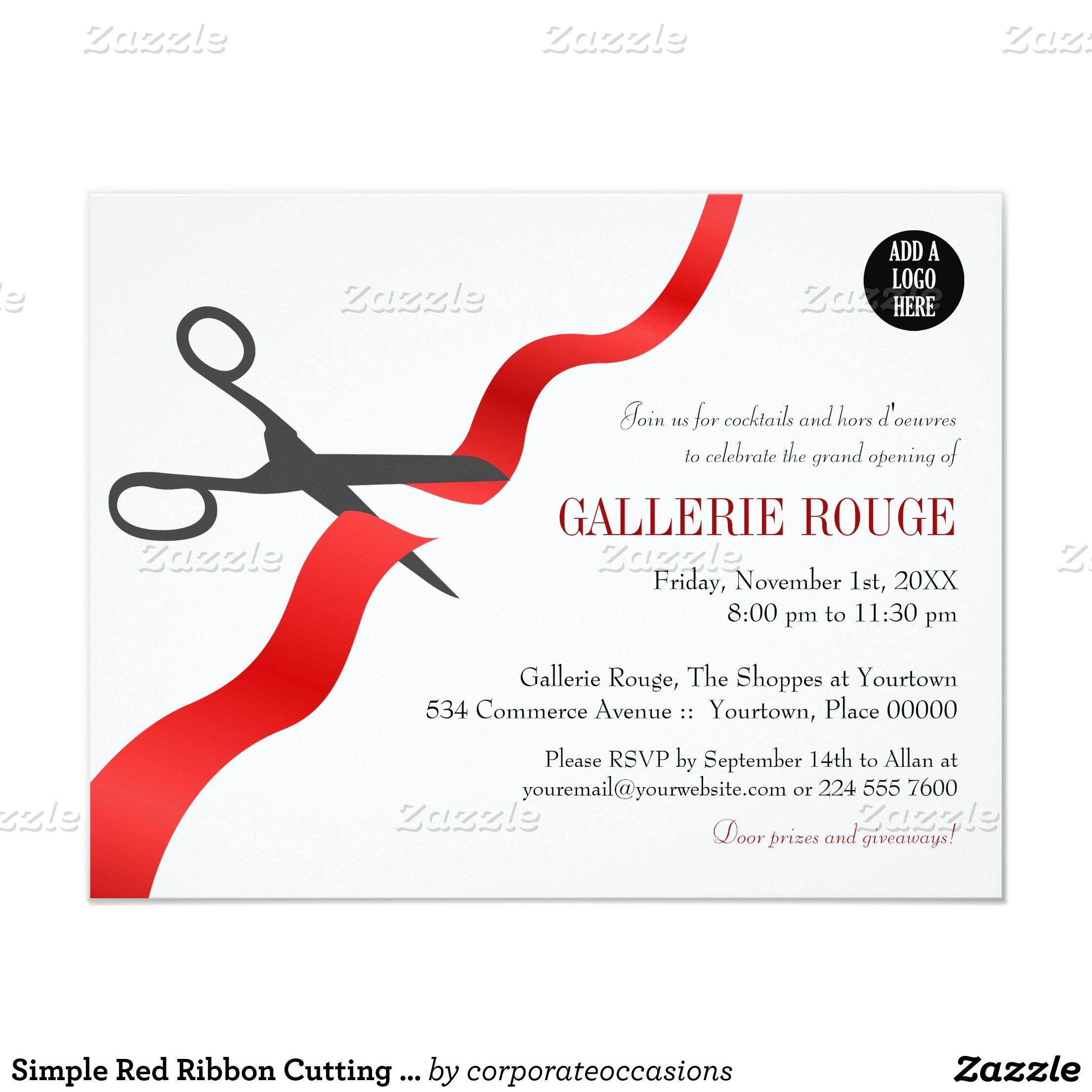 Simple red ribbon cutting grand opening card grand opening pop simple red ribbon cutting grand opening 425x55 paper invitation card stopboris Gallery