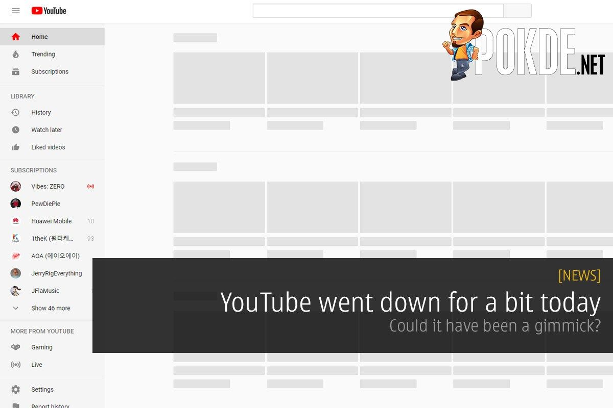 YouTube went down for a bit today — could it have been a gimmick