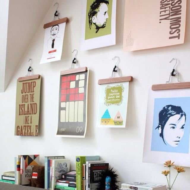 Would have never thought of using hangers to hang art:-) | Home ...