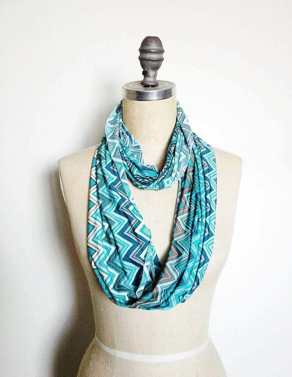 New! Infinity Circle Scarf Soft Knit in Turquoise chevron by SevenWhiteRabbits on Etsy