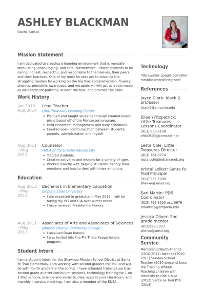 lead teacher resume example
