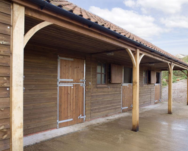 Three Stables, Tack Room and Double Garage Timber garage