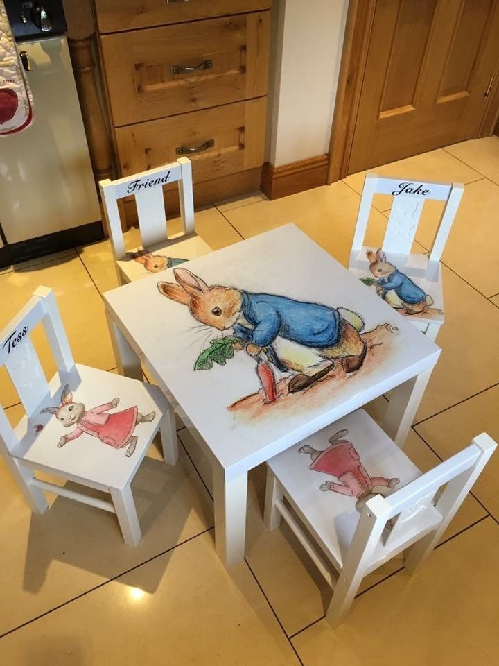 Childrens Peter Rabbit Table Chair Set Home Furniture Diy Children S Home Furniture F Personalized Kids Chair Table And Chairs Kids Table And Chairs
