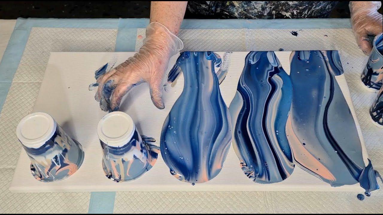 888 huge winter wonderland five flip cup acrylic pour