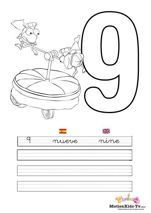 Pintas, educativos aprender numeros NUEVE -- Coloring pages ...