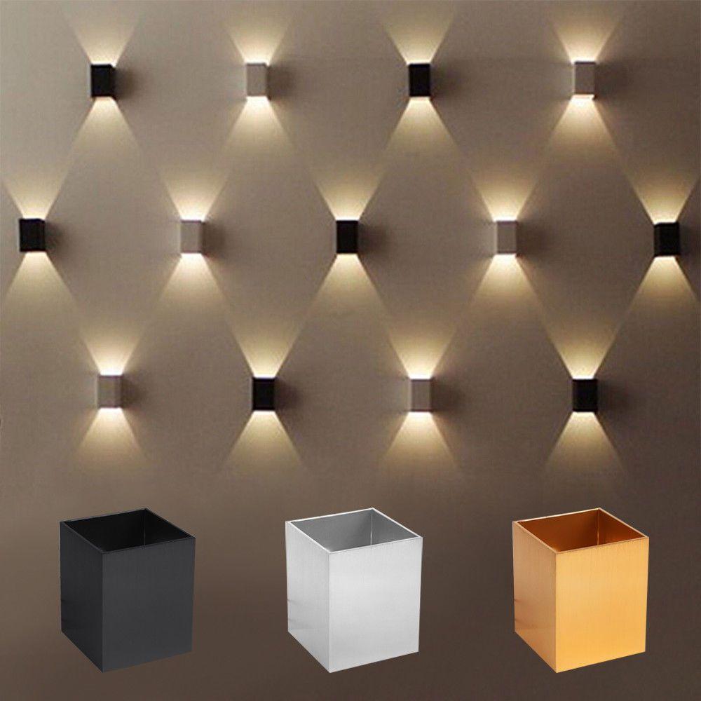 Modern 5W LED Square Wall Lamp aluminum of lamp body, polished